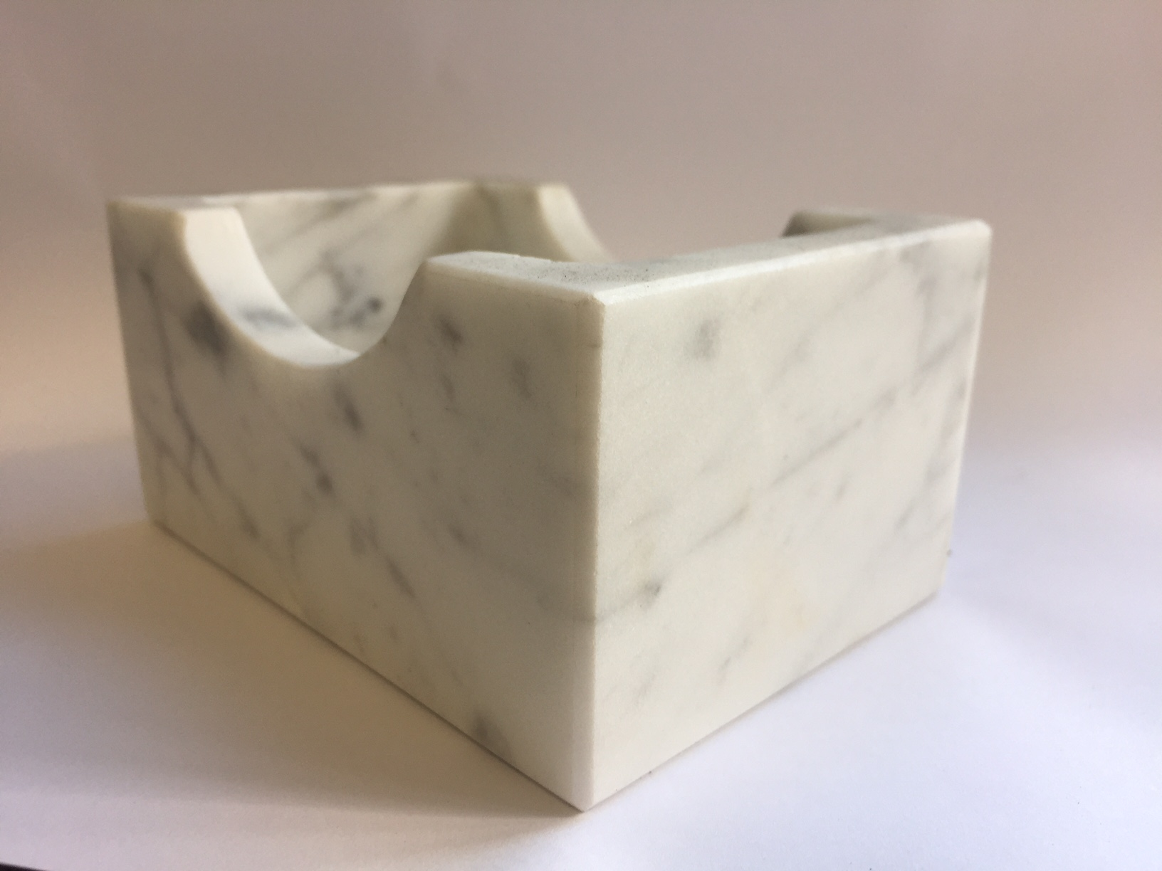 White Carrara Marble Business Card Holder Luxury Candle Supplies