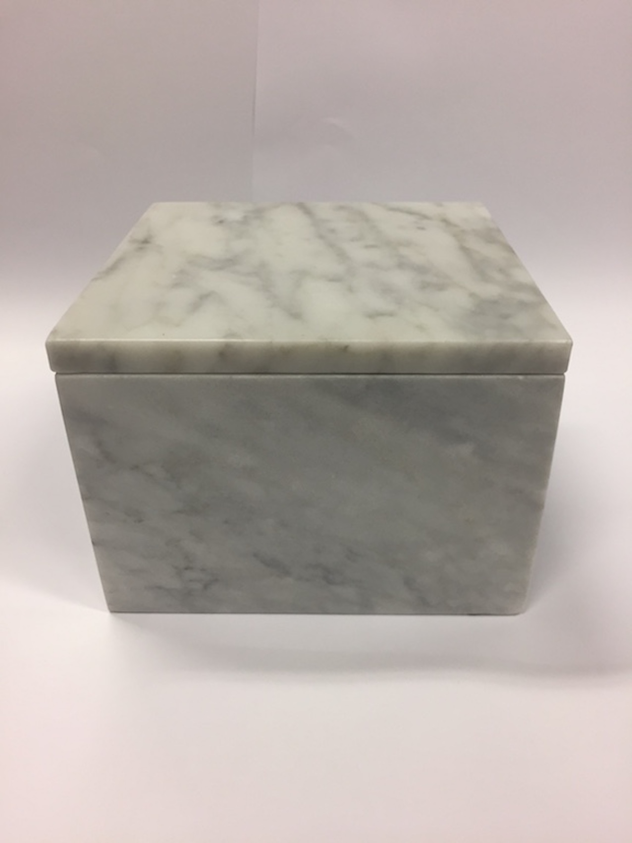 White Carrara Marble Square Jewellery Container Luxury