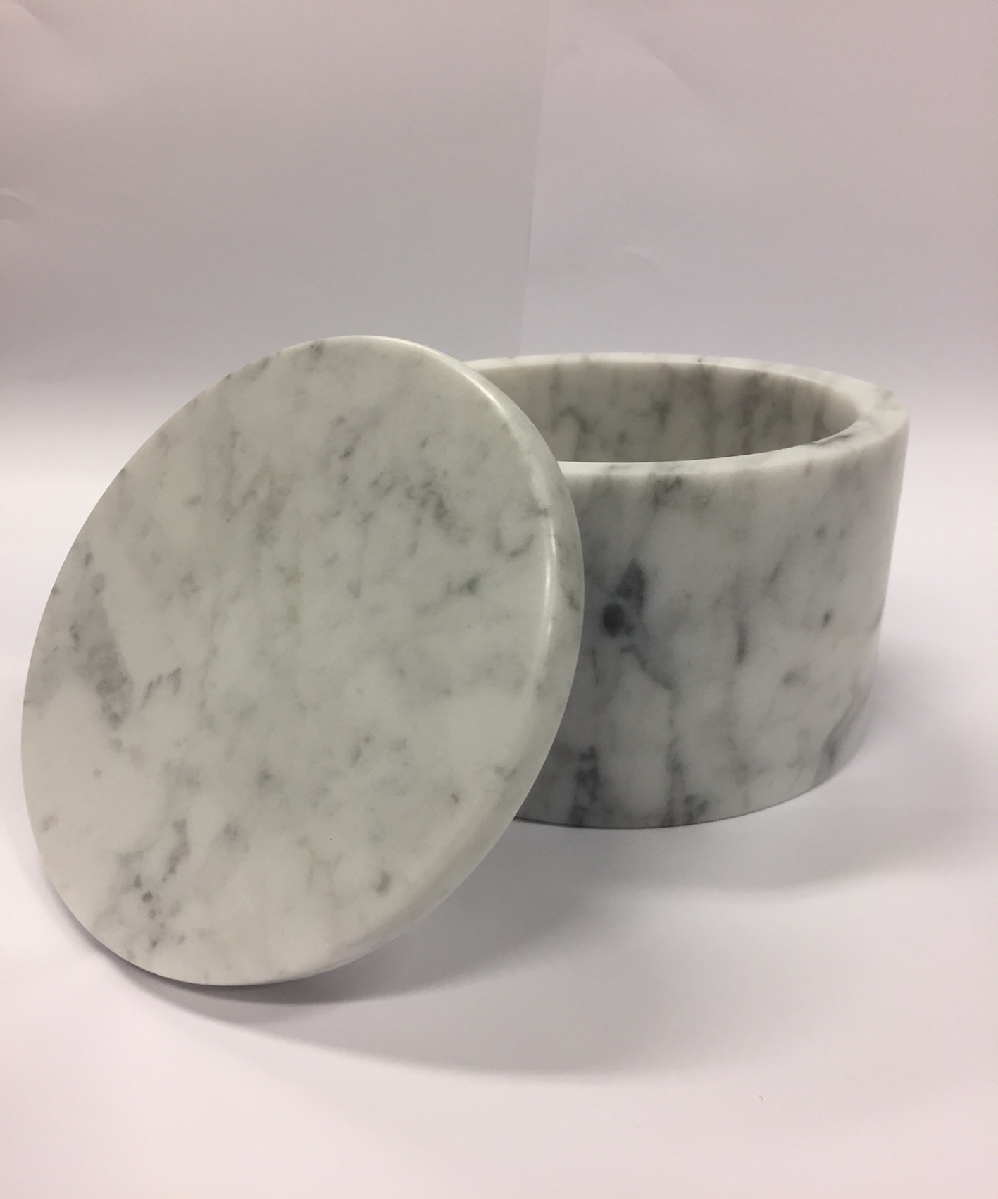 Original White Carrara Marble Round Container Large