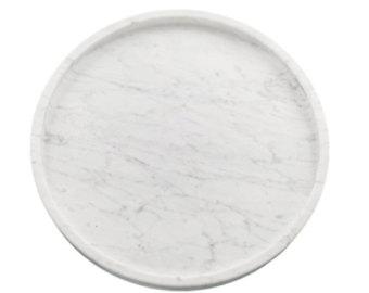 Large Round White Carrara Marble Platter With Rim Luxury