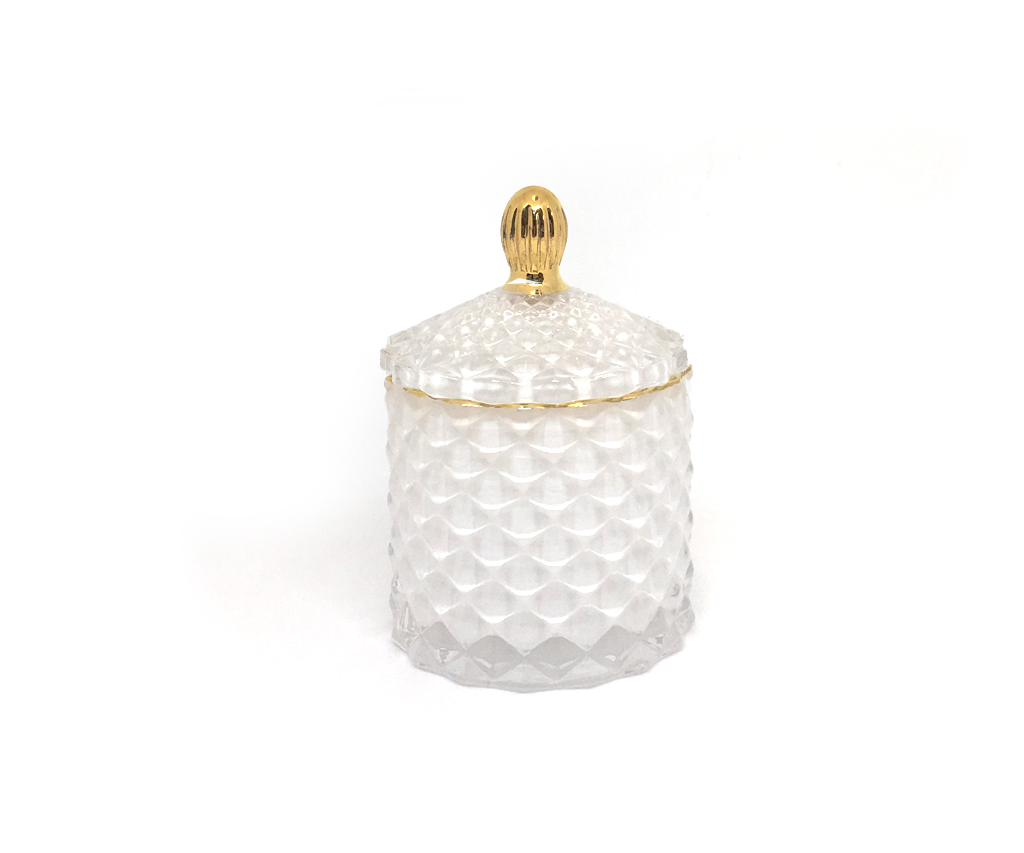 Baby Geo Cut Glass Jar 100 Ml Royal White Luxury