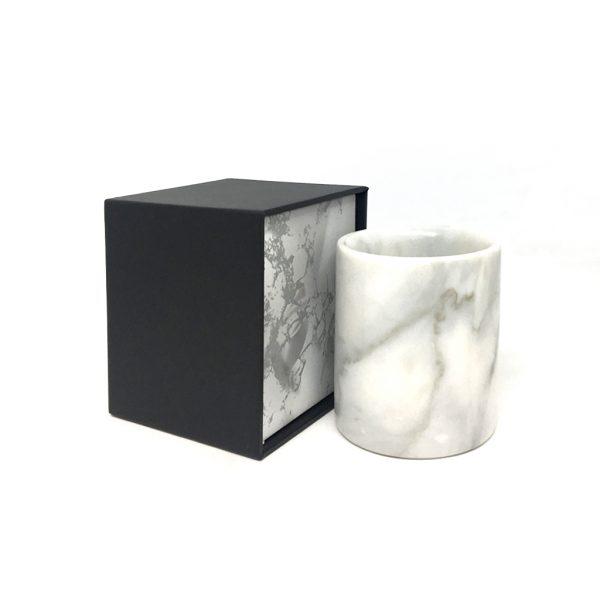 Bundle Small Piccolo Jar White Marble Flip Top Box
